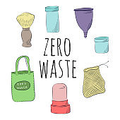 Zero Waste Concept Hand drawn elements of zero waste life Zero waste concept card. Good for posters, banners, web design, cards. Vector illustration.