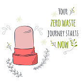 Zero Waste Concept. Hand drawn elements of zero waste life. Zero waste concept card. Good for posters, banners, web design, cards. Vector illustration.