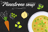 Minestrone soup recipe. Cooking soup with ingredients. Flat style illustration. Vector illustration.
