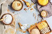 Gluten free almond, corn, rice, chickpea, buckwheat flour