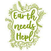 Earth needs help. Zero Waste Concept. Hand drawn elements of zero waste life. Zero waste concept card. Good for posters, banners, web design, cards. Vector illustration.