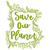 Save our planet. Zero Waste Concept. Hand drawn elements of zero waste life. Zero waste concept card. Good for posters, banners, web design, cards. Vector illustration.