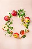 Rosh Hashana, jewish new year holiday concept, honey, apple, pomegranate
