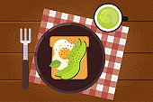 Set of breakfast food on wooden surface background in flat design style. Breakfast time. Vector illustration.