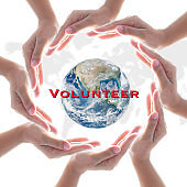International volunteer day for social and economic development concept. Elements of this image furnished by NASA
