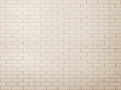 Brick wall tile texture background painted in antique white color