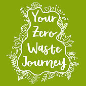 Your Zero Waste Journey. Zero Waste Concept. Hand drawn elements of zero waste life. Zero waste concept card. Good for posters, banners, web design, cards. Vector illustration.
