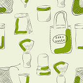 Zero Waste Concept.  Hand drawn elements of zero waste life. Seamless pattern. Vector illustration.