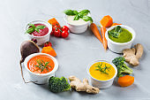 Colorful seasonal fall vegetables creamy soups with ingredients