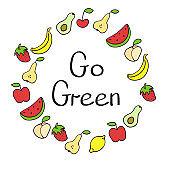 Vegan product label. World vegan day. Hand drawn rustic frame with fruits. Typography design. Vegan.