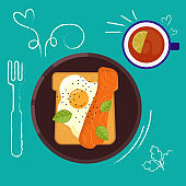 Set of breakfast food on bright background in flat design style. Doodle elements. Flat sandwich and beverage. Breakfast time. Vector illustration.