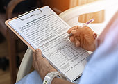 Health insurance claim form application for medicare coverage and medical treatment for patient with illness, accident injury and admitted in hospital ward