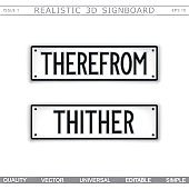 Direction signs. Therefrom. Thither. Stylized signboard design. Vector label