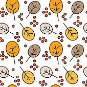 autumn fall seamless vector pattern background illustration with berries and leaves