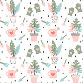cute hand drawn modern seamless vector pattern background illustration with garden tools and plants