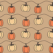 vintage autumn fall seamless vector pattern background illustration with pumpkins