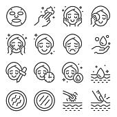 Skin care icons set vector illustration. Contains such icon as aroma, cleaning, treatment, acne, moist and more. Expanded Stroke