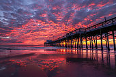 Newport Pier - Crimson Sky and Sand