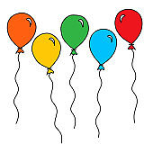 Balloon – party, celebration balloons. Balloons simple drawing outline for coloring book vector illustration