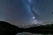 Night Sky and Stars Over forget-me-not pond,Alberta
