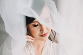 Beautiful stylish brunette bride posing in silk robe under veil in the morning. Sensual portrait of happy woman model with perfect makeup and hairstyle, getting ready for wedding day