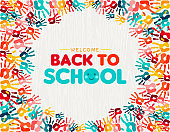 Back to school card of diverse children hand print