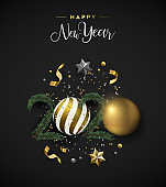 Happy New Year 2020 card of gold 3d xmas ornament