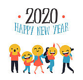 New year 2020 diverse people smiley face icon