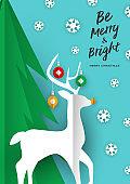 Merry Christmas card of paper cut craft reindeer