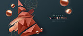 Merry Christmas copper low poly pine tree banner