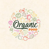 Organic food concept of colorful vegetable icons
