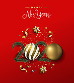 New Year 2020 card red 3d luxury holiday ornament