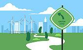 Green eco friendly city wind mill park landscape