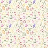 Vegetable fruit seamless pattern of organic food