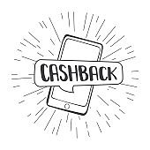 Bank cashback concept background. Speech bubble on mobile phone screen
