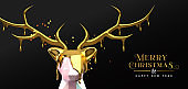 Christmas New Year 3d melted gold low poly deer