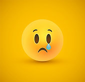 Sad yellow emoticon crying face in 3d background