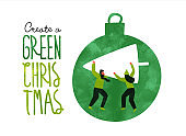 Green christmas eco card of people with pine tree