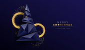 Christmas new year abstract 3d low poly tree card