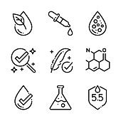 Chemically tested related, bold line icons.