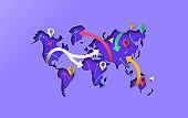 World map papercut gps travel arrow concept