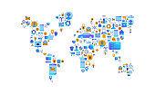 Technology world map flat internet icon concept
