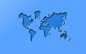 Blue papercut cutout world map concept