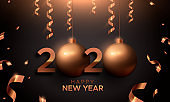 New Year 2020 gold copper card of 3d holiday ball