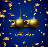 New Year 2020 3d gold bauble blue greeting card