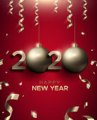 New Year 2020 3d gold bauble red greeting card