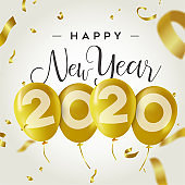 Happy New Year 2020 gold party balloon card