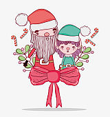 santa claus with elf and ribbon bow