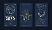 Chinese new year of rat 2020 gold moon card set