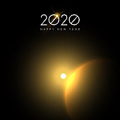 New Year 2020 gold sun eclipse sky greeting card